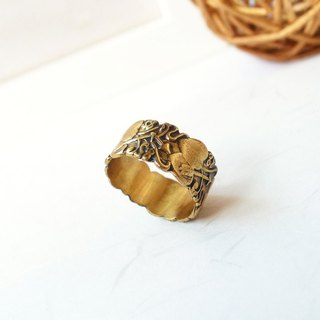 Sweet Cupid Pure Brass Embossed Ring Anti-allergic Copper