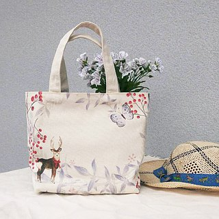 【Customized name】 red stripes / printed canvas / hand do bag - gift Tote bag