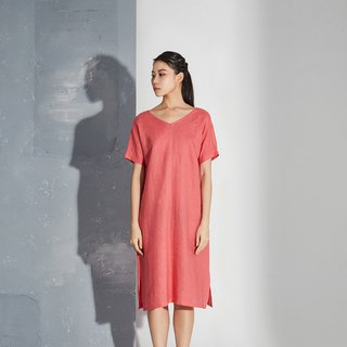 【In stock】Watermelon red  linen v-collar dress