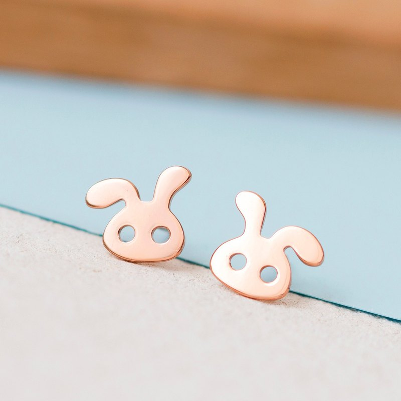 Rabbit Earrings in 925 Sterling Silver with Rose Gold plating