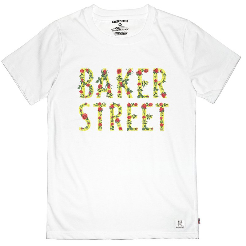 British Fashion Brand -Baker Street- Floral Letters Printed T-shirt