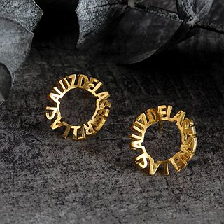 Minimum letter earrings / brass