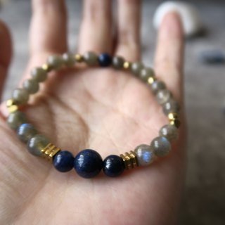 Flash blue 【spiritual • small handmade】 elongated stone (moonstone). Lapis lazuli. Brass. Male and female suitable neutral single ring bracelet