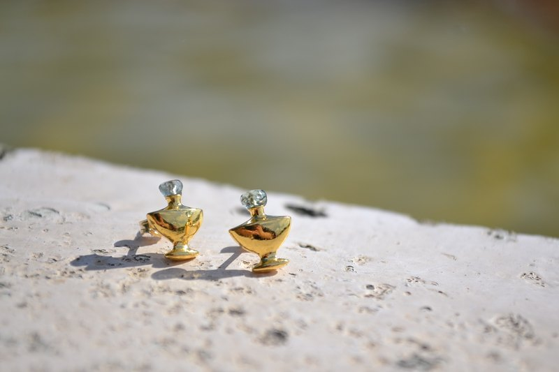 Perfume bottle earrings Aquamarine