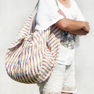 Valentine's Day Gift Plant Dyed Knit Light Bag / Backpack / Side Bag / Shoulder Bag / Travel Bag / Tote Bag / Shopping Bag - Indian Cotton IKat Rainbow Color Cardigan