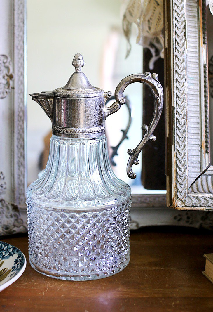 French antique silver kettle flower glass bottle