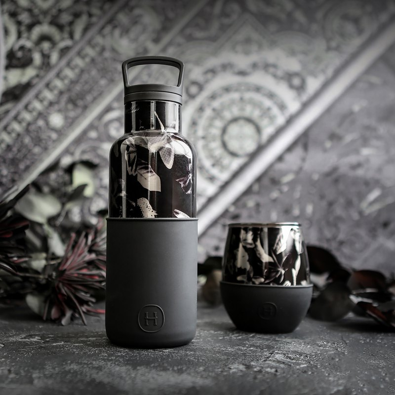 [Preferential combination] Black flower cup and bottle combination | 2 groups