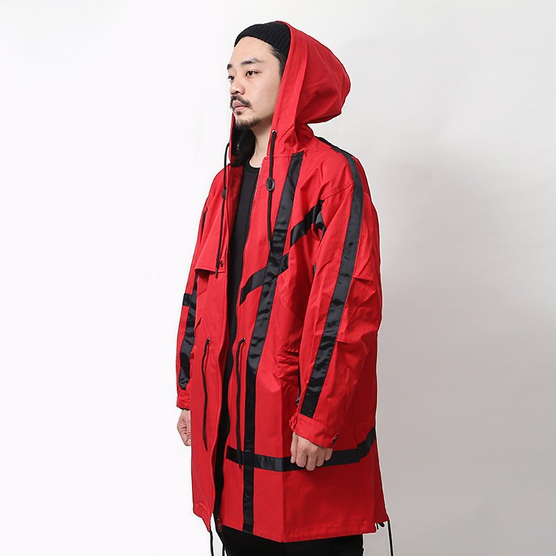 [Ionism] Ribbon fishtail coat red