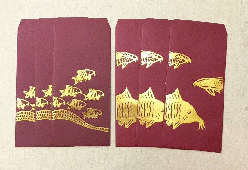 Corydoras' Red Envelope Set of 6 Tooled in Gold