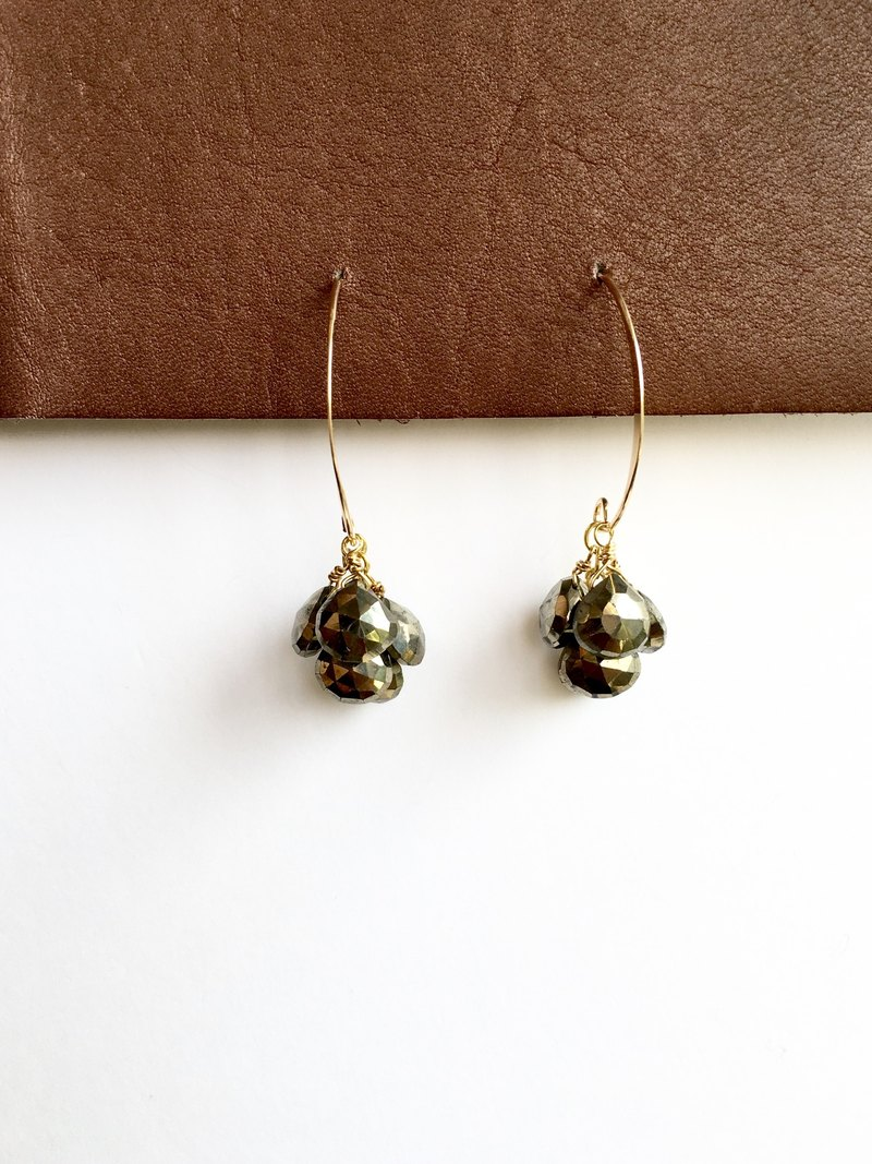 Pyrite Drops Marquis earrings 14 kgf gold filled