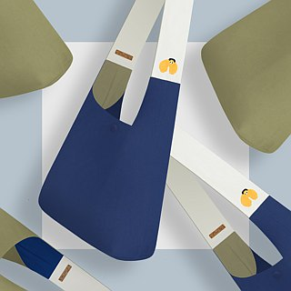 [World Earth Day] large capacity - denim shopping bags, green bags, tool bags - dark blue and white