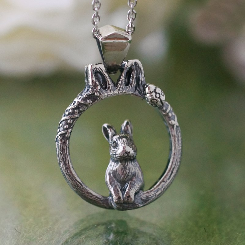 Rabbit in the forest and ladybug insect pendant