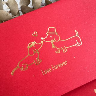 LOVE FOREVER. Blush - dachshund dog European hot stamping red bag 5 into / group