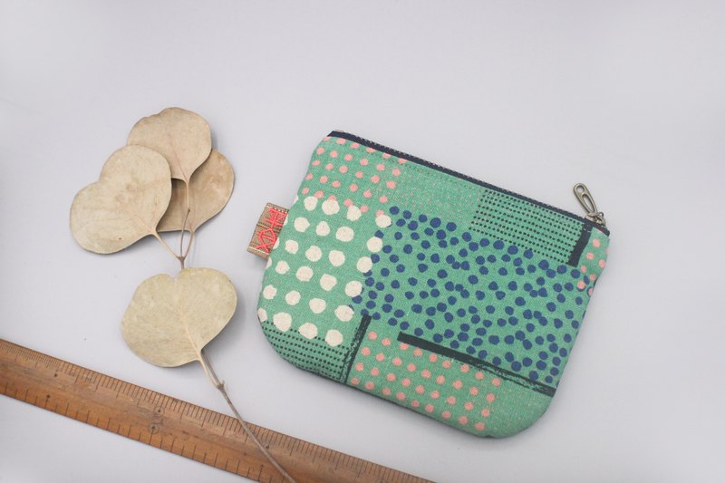 Ping An Xiaole Bag-Little wallets lined up, double-sided two-tone Japanese cotton and linen