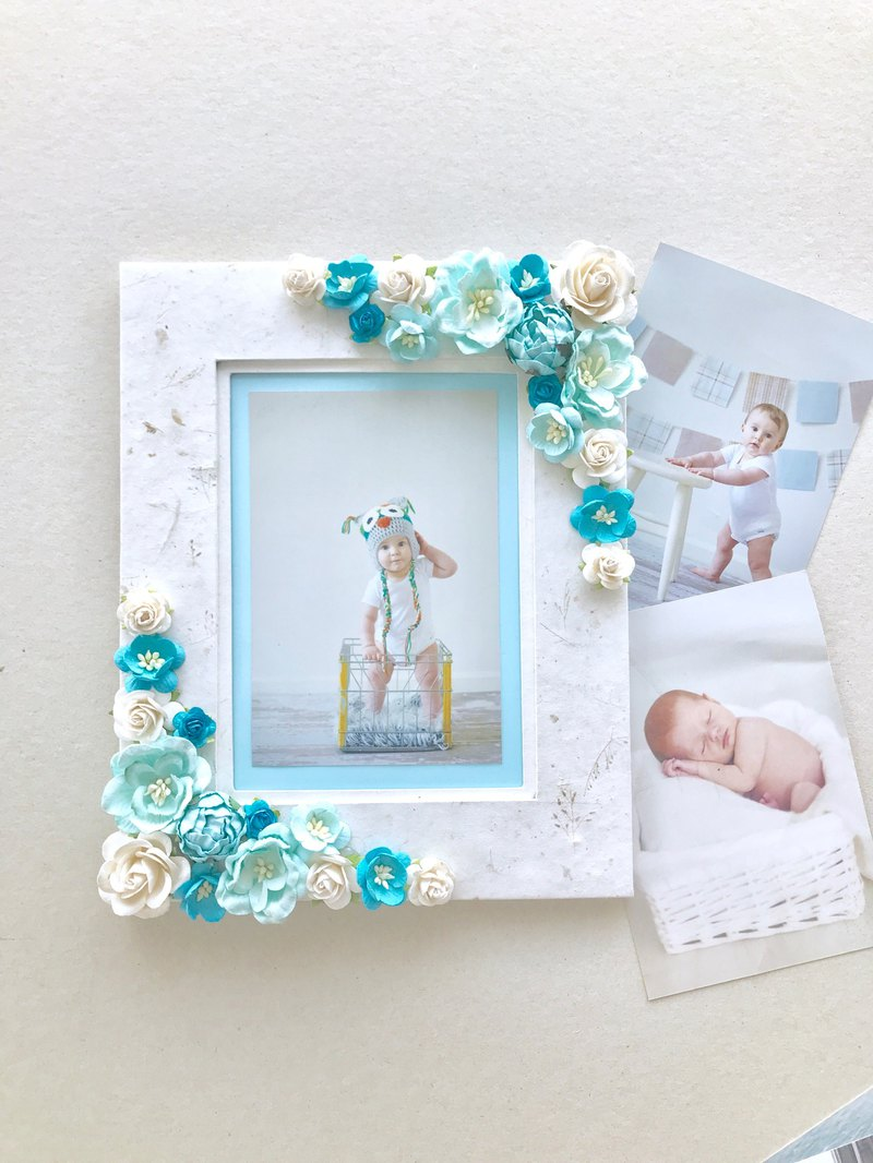 "Baby Floral Photo Frame - 5x7"" Mulberry Paper Flowers Picture Frame"