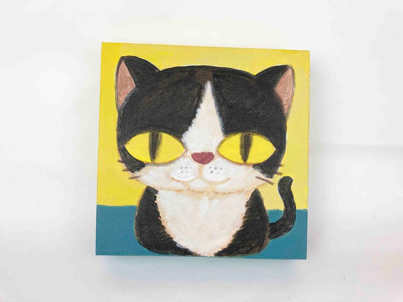 Nice Little Clay Original Painting (Small) Black and White Cat 1201-02
