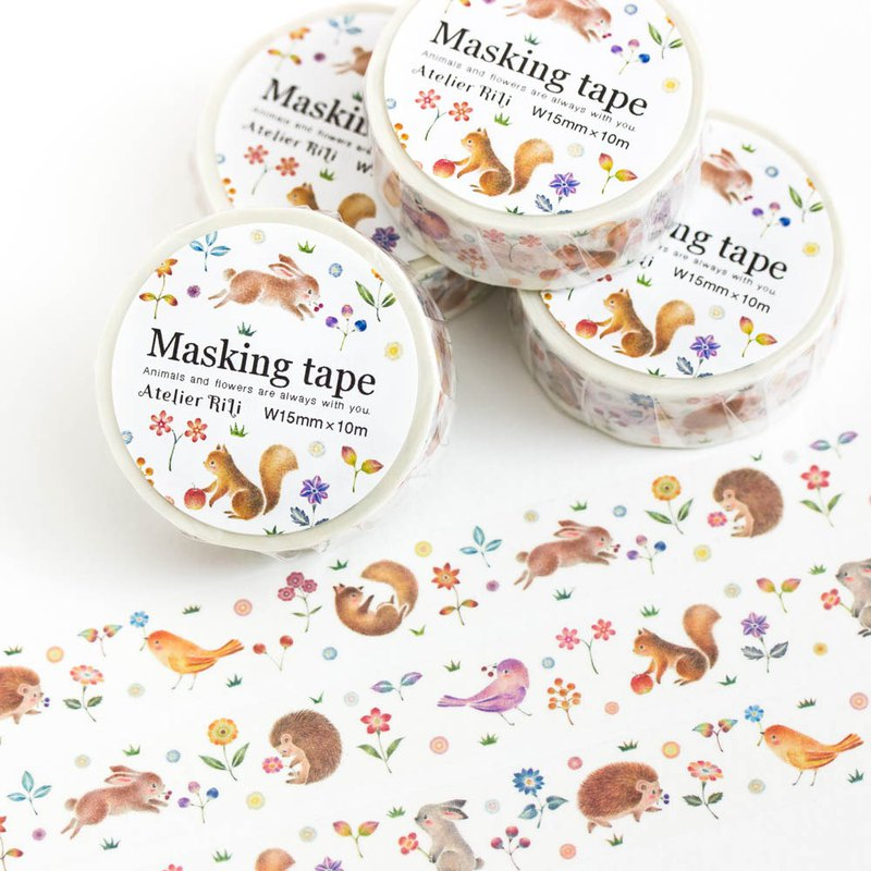 "Piece of picture book. Masking tape ""Happy moments of animals"" MT-3"