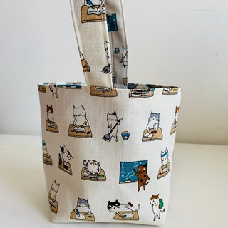 Wen Qingfeng environmental protection waterproof fat cup tote bag ~ cat good student with a small bag exchange gifts