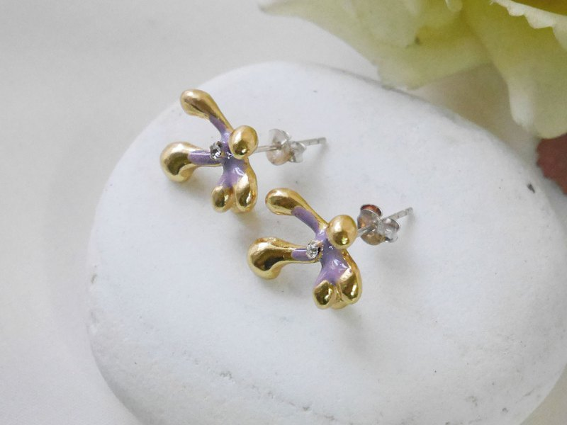 925 silver ear needle meaty zircon cold scented flower (brass plating 18K)