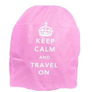 Keep Calm & Travel On Neon Backpack Cover - Pink
