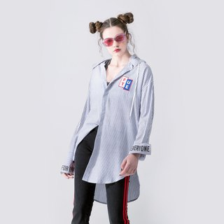 UNISEX REMOVABLE HOOD STRIPED SHIRT JACKET