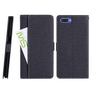 CASE SHOP OPPO AX5 special suture front storage vertical leather case - black (4716779660302)