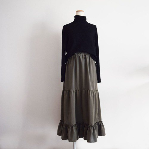 Selectable length, tiered gather, long skirt, khaki, custom-made