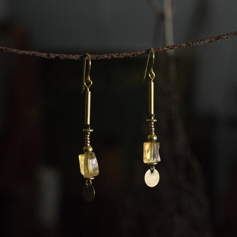 Citrine Bohemian Earrings-Clip Earrings
