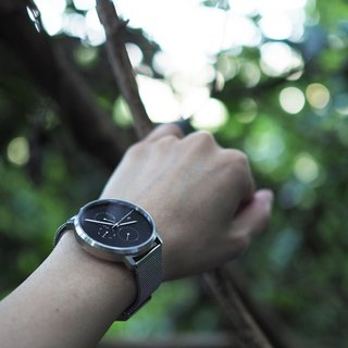 Minimal Watches : MONOCHROME CLASSIC - ONYX/MESH  (Silver)