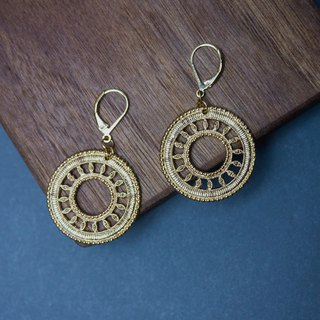 Circle dot gold dream catcher earrings earrings ear clip