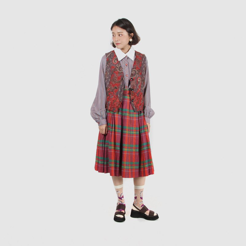 [Egg plant ancient] raspberry good life check cotton high waist vintage dress