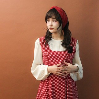 Retro autumn and winter Japanese fake two-point dot red long-sleeved vintage dress Vintage Dress