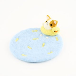 Have fun – swimming corgi dog wool felting coaster