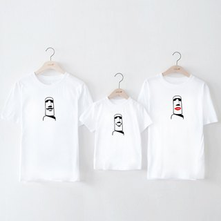 Moai Mustache Lips smile couple kid white t shirt