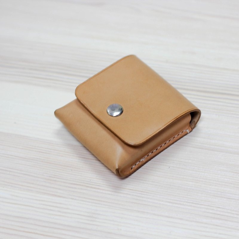 [Yingchuan hand-made] small tofu storage coin purse / Italian plant 鞣 cowhide / original skin color