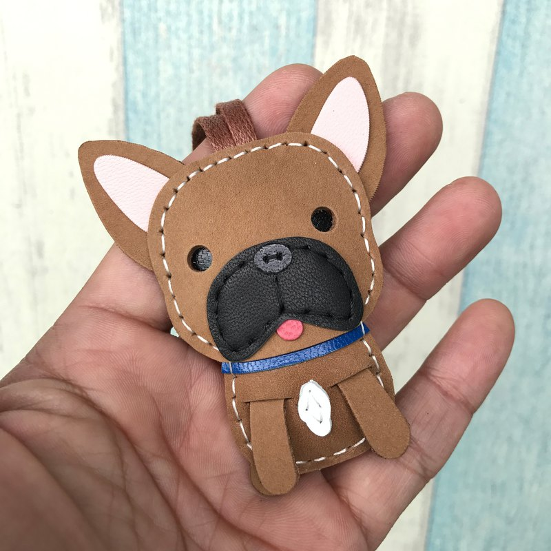 Brown cute law dog pure hand-stitched leather charm small size