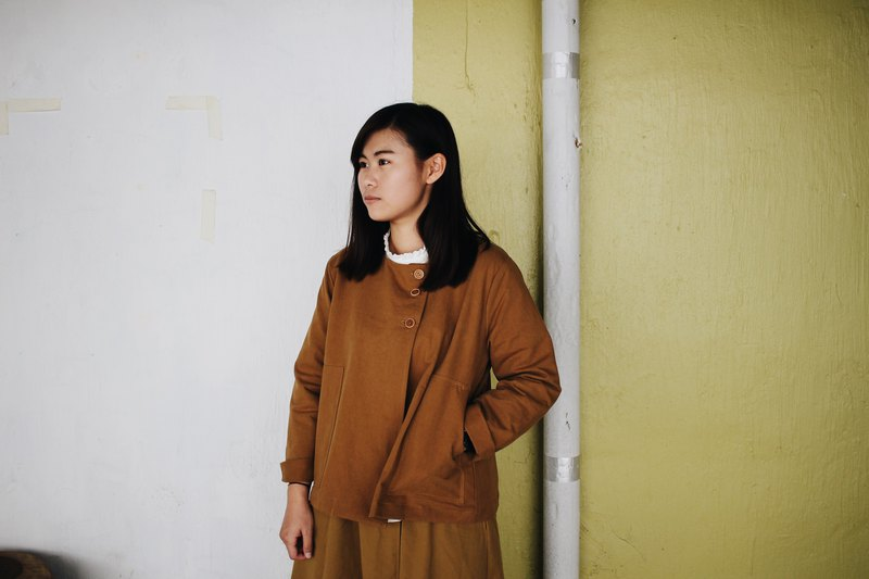 Side button coat - mud yellow