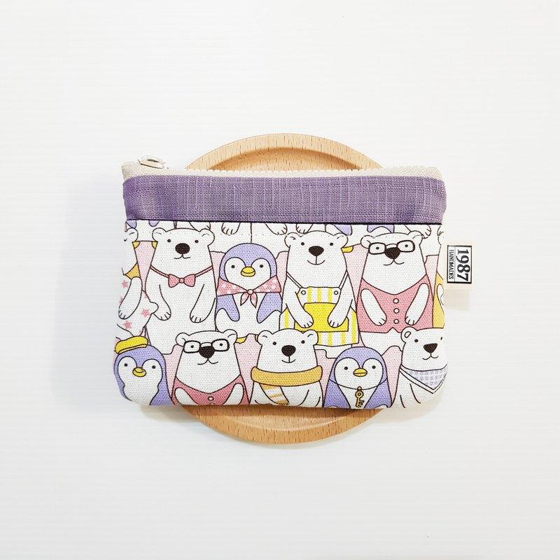 【北極熊一家人(紫)】 零錢包 手拿包 隨身包 拉鏈袋 聖誕禮物