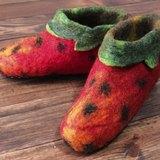 【樂拍子】尼泊爾 羊毛氈 手工鞋 室內鞋 室內拖(草莓 23cm / 24cm)