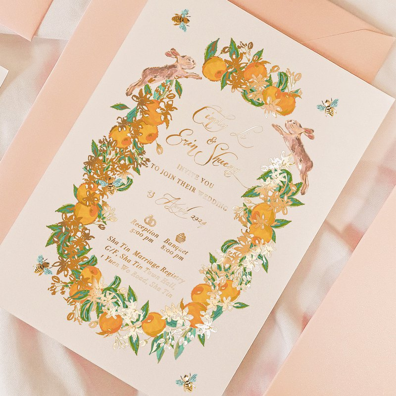 Orange flower colorful wedding invitation