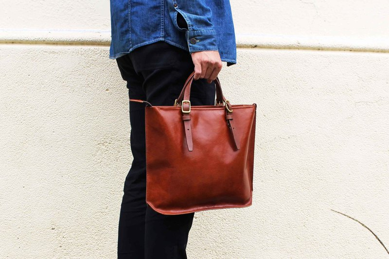 [VULCAN Tote Briefcase] Italy YANKEE Soft Vegetable Tanned Tote