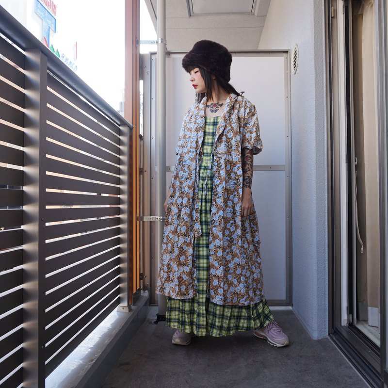 (Japanese made vintage) blue flower blouse jacket dress F3520 (birthday gift / Christmas gift)