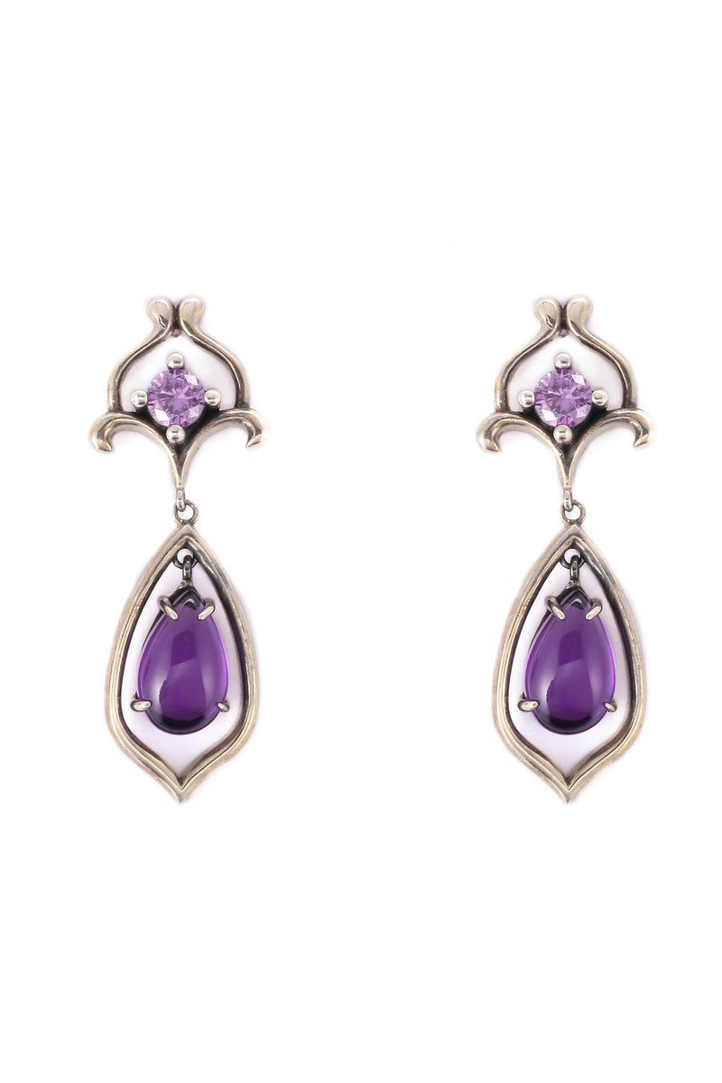 S925 Sterling Silver With Purple Cubic Zirconia Earrrings 03
