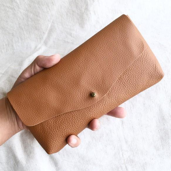 Cow shrink leather and cow suede simple long wallet Brown