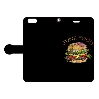[手帳型iPhoneケース] Hamburger / Black