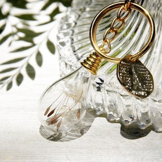 Valentine's Day / forest girl / French translucent glass ball dried flower key ring keychain strap - Dandelion Forest