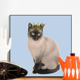 Mutual study house entrance decoration painting animal hanging painting Siamese cat crystal engraving