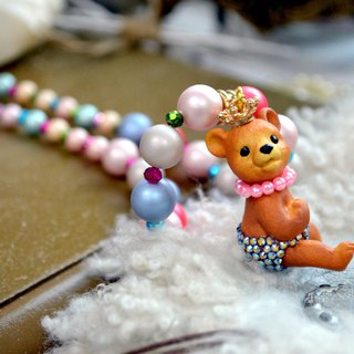 Bear doll color pearl necklace Swarovski crystal panties shell pearl
