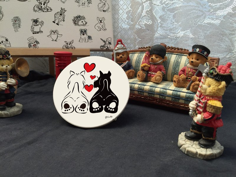 Q Family Original Ceramic Water Cup Coaster - Sun Love Series - Terrier