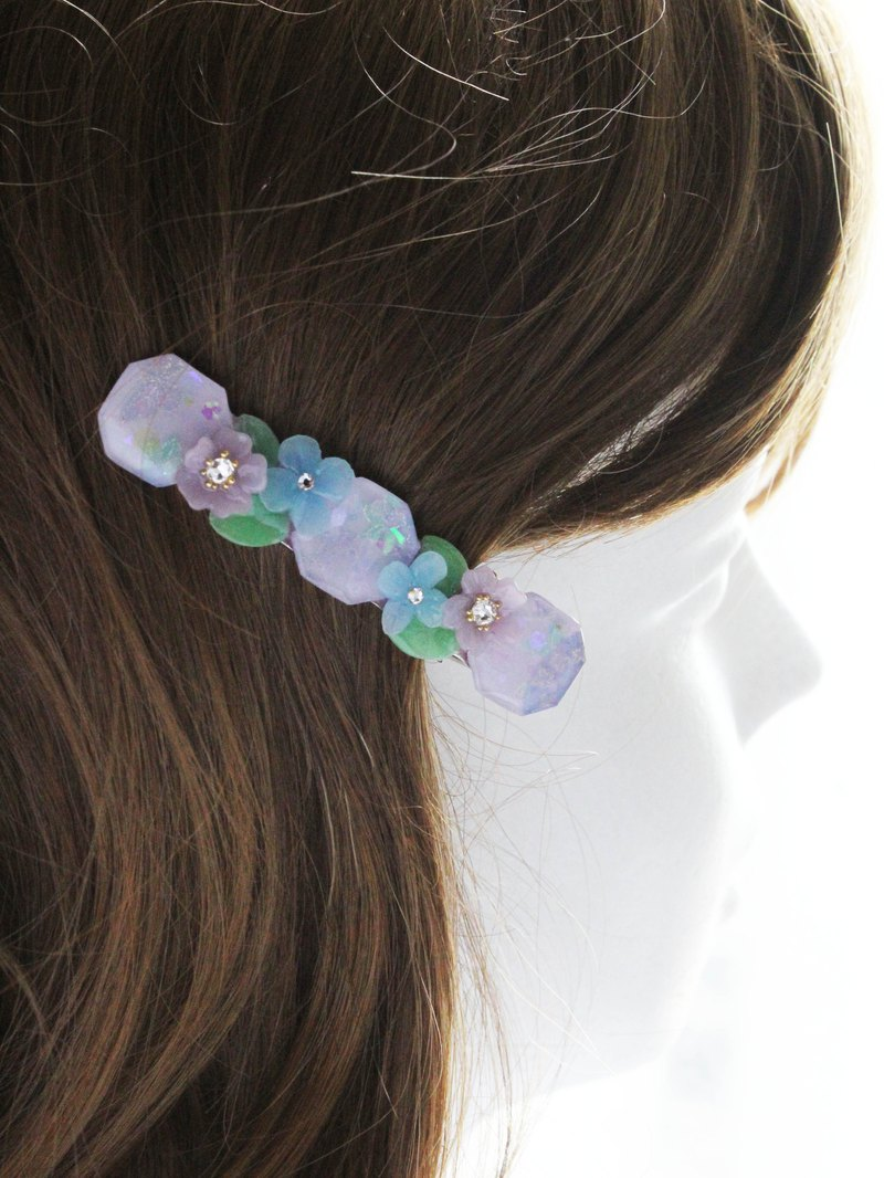 Hand painted pastel purple Hydrangea cherry blossom hair clip